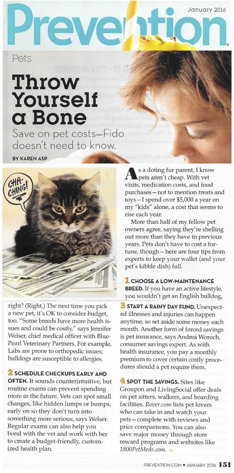 Prevention Jan 2016 Pet Savings